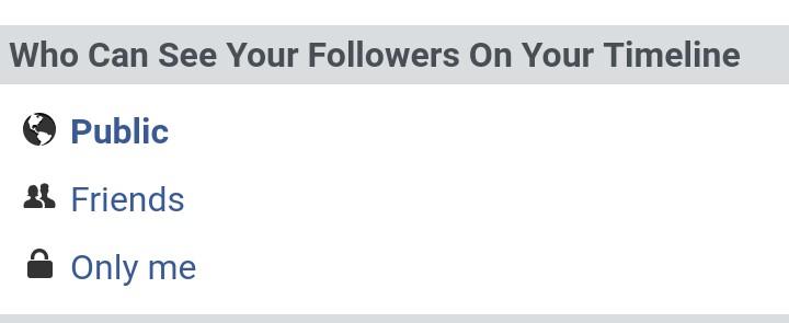 Facebook follower option on